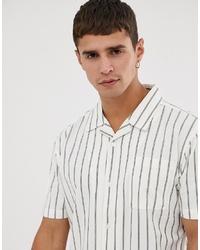 Мужская белая рубашка с коротким рукавом в вертикальную полоску от Bellfield