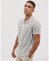 Мужская белая рубашка с коротким рукавом в вертикальную полоску от Burton Menswear