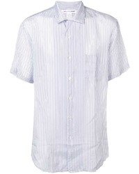 Мужская белая рубашка с коротким рукавом в вертикальную полоску от Comme Des Garcons SHIRT