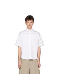Мужская белая рубашка с коротким рукавом в вертикальную полоску от Maison Margiela