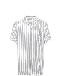 Мужская белая рубашка с коротким рукавом в вертикальную полоску от Onia