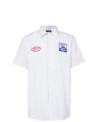 Мужская белая рубашка с коротким рукавом в вертикальную полоску от R13