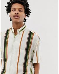 Мужская белая рубашка с коротким рукавом в вертикальную полоску от Weekday