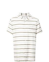 Белая рубашка с коротким рукавом в горизонтальную полоску