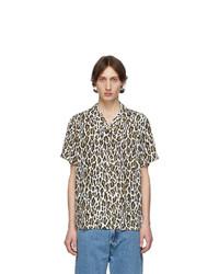Белая рубашка с коротким рукавом с леопардовым принтом