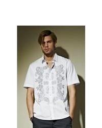 "Белая рубашка с коротким рукавом с ""огурцами"""