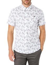 Белая рубашка с коротким рукавом с принтом