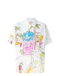 Женская белая рубашка с коротким рукавом с принтом от Marni