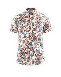 Белая рубашка с коротким рукавом с цветочным принтом