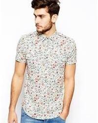 Мужская белая рубашка с коротким рукавом с цветочным принтом от Antony Morato