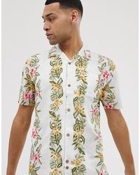 Мужская белая рубашка с коротким рукавом с цветочным принтом от Bellfield
