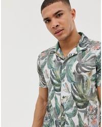 Мужская белая рубашка с коротким рукавом с цветочным принтом от Burton Menswear