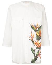 Мужская белая рубашка с коротким рукавом с цветочным принтом от Dolce & Gabbana