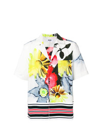Мужская белая рубашка с коротким рукавом с цветочным принтом от MSGM