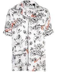 Мужская белая рубашка с коротким рукавом с цветочным принтом от Off-White