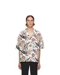 Мужская белая рубашка с коротким рукавом с цветочным принтом от Prada