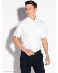 Мужская белая рубашка с коротким рукавом от Alfred Muller