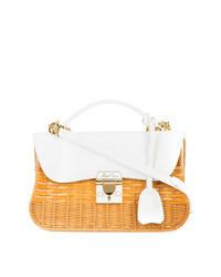 Белая соломенная сумка через плечо