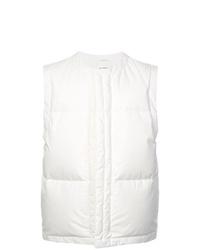 Белая стеганая куртка без рукавов