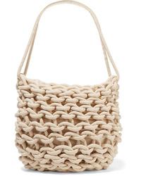 Белая сумка-саквояж из плотной ткани
