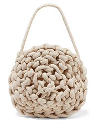 Белая сумка-саквояж из плотной ткани от Alienina