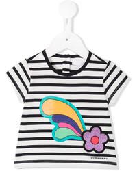 Детская белая футболка в горизонтальную полоску для девочек от Burberry