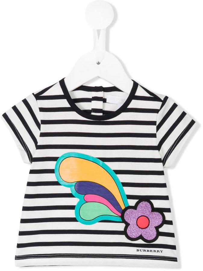 Детская белая футболка в горизонтальную полоску для девочке от Burberry