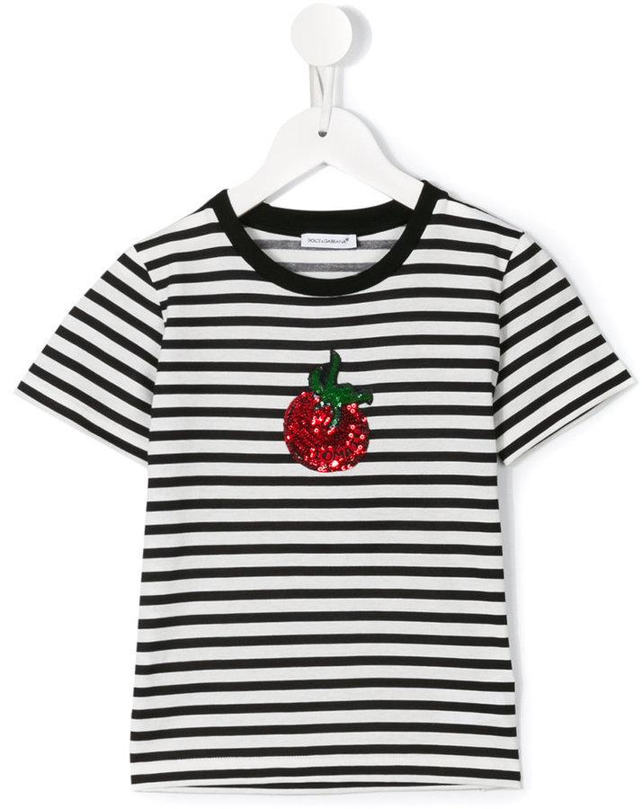 Детская белая футболка в горизонтальную полоску для девочек от Dolce & Gabbana