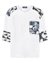 Мужская белая футболка на пуговицах с принтом от Dolce & Gabbana