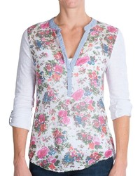 Белая футболка на пуговицах с цветочным принтом