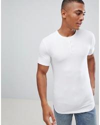 Мужская белая футболка на пуговицах от ASOS DESIGN