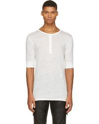 Мужская белая футболка на пуговицах от Balmain