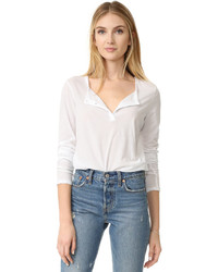 Женская белая футболка на пуговицах от James Perse