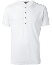 Мужская белая футболка на пуговицах от John Varvatos