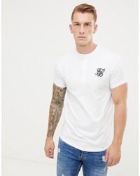Мужская белая футболка на пуговицах от Siksilk