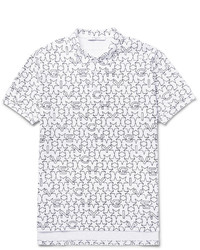 Белая футболка-поло с принтом