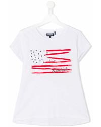 Детская белая футболка со звездами для девочке