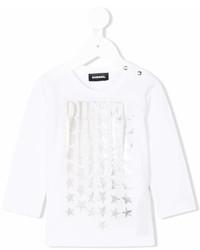 Детская белая футболка со звездами для девочке от Diesel