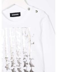 Детская белая футболка со звездами для девочек от Diesel
