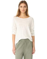 Женская белая футболка с длинным рукавом в горизонтальную полоску от Current/Elliott