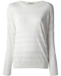 Женская белая футболка с длинным рукавом в горизонтальную полоску от Roberto Collina