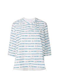 Женская белая футболка с длинным рукавом в горизонтальную полоску от Sacai