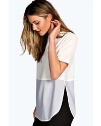 Белая футболка с длинным рукавом в сеточку