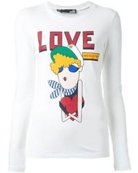 Белая футболка с длинным рукавом с принтом