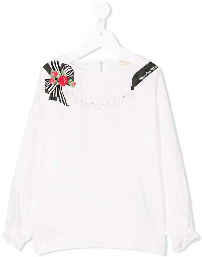 Детская белая футболка с длинным рукавом с принтом для девочек