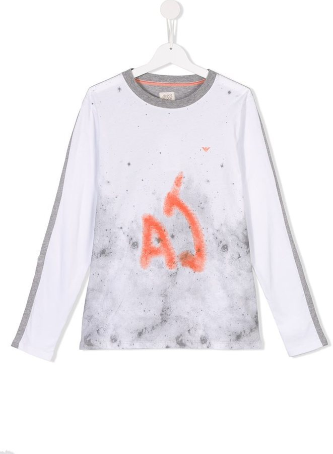 Детская белая футболка с длинным рукавом с принтом для мальчику от Armani Junior