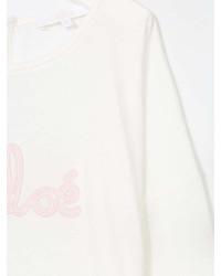 Детская белая футболка с длинным рукавом с принтом для девочке