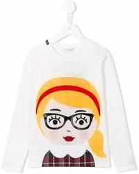 Детская белая футболка с длинным рукавом с принтом для девочке от Dolce & Gabbana