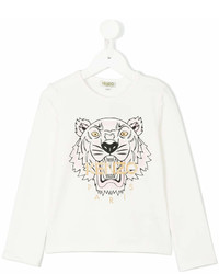 Детская белая футболка с длинным рукавом с принтом для девочке от Kenzo
