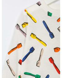 Детская белая футболка с длинным рукавом с принтом для девочке от Stella McCartney